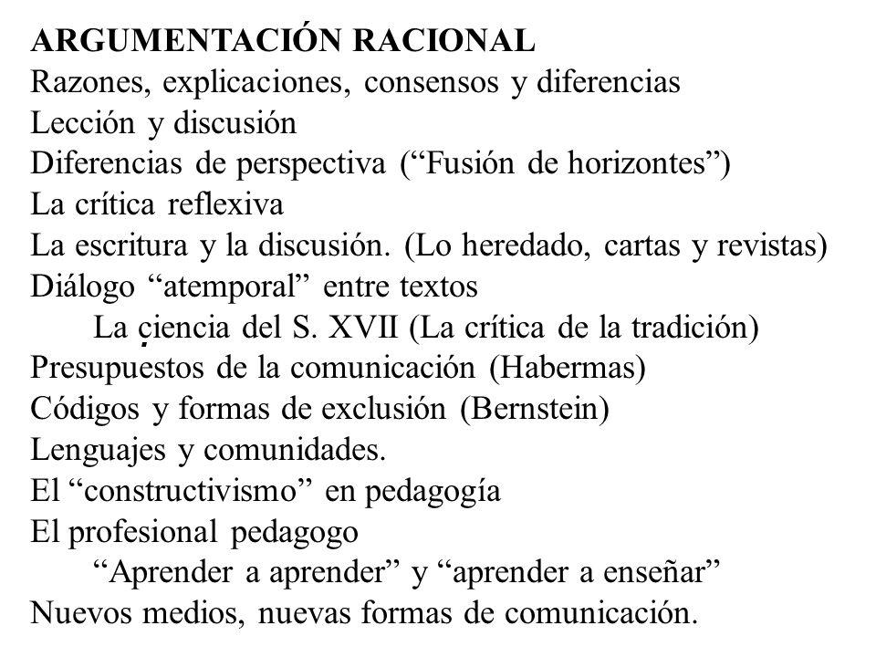 . ARGUMENTACIÓN RACIONAL