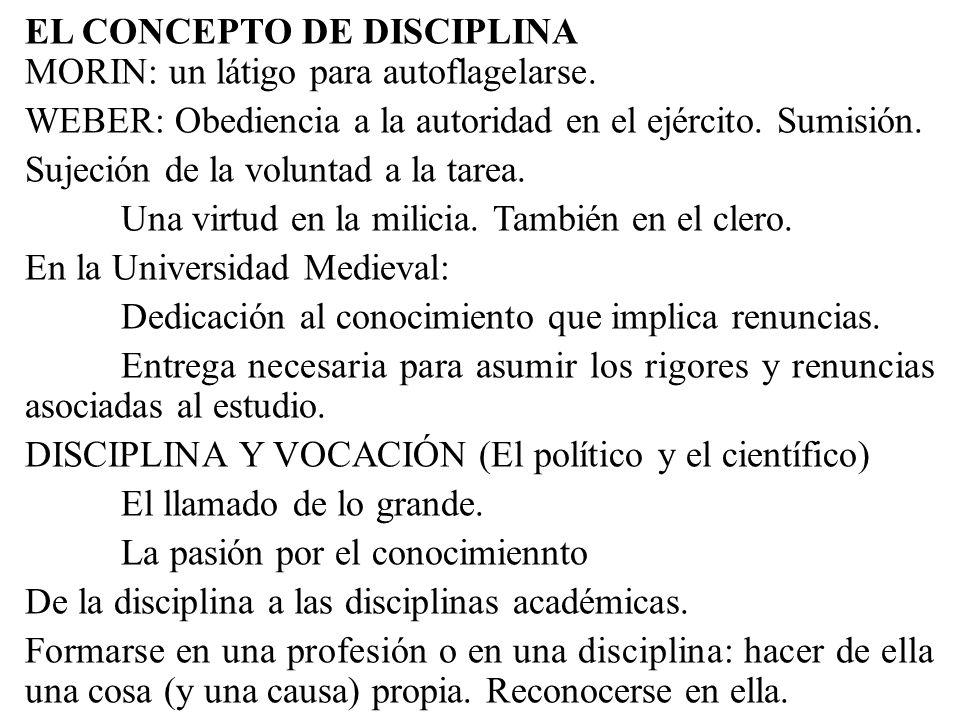 EL CONCEPTO DE DISCIPLINA