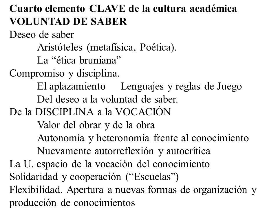 Cuarto elemento CLAVE de la cultura académica VOLUNTAD DE SABER