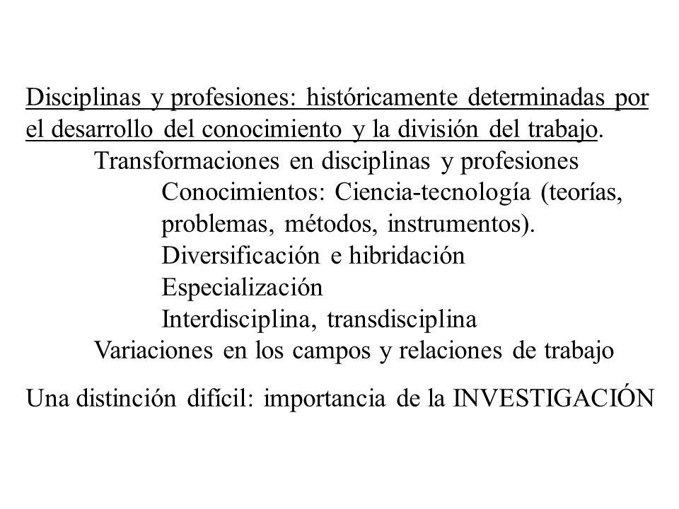 Disciplinas y profesiones: históricamente determinadas por el desarrollo del conocimiento y la división del trabajo.