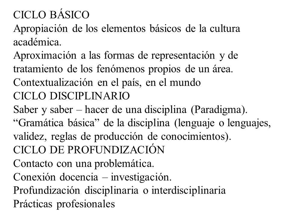 CICLO BÁSICO Apropiación de los elementos básicos de la cultura académica.