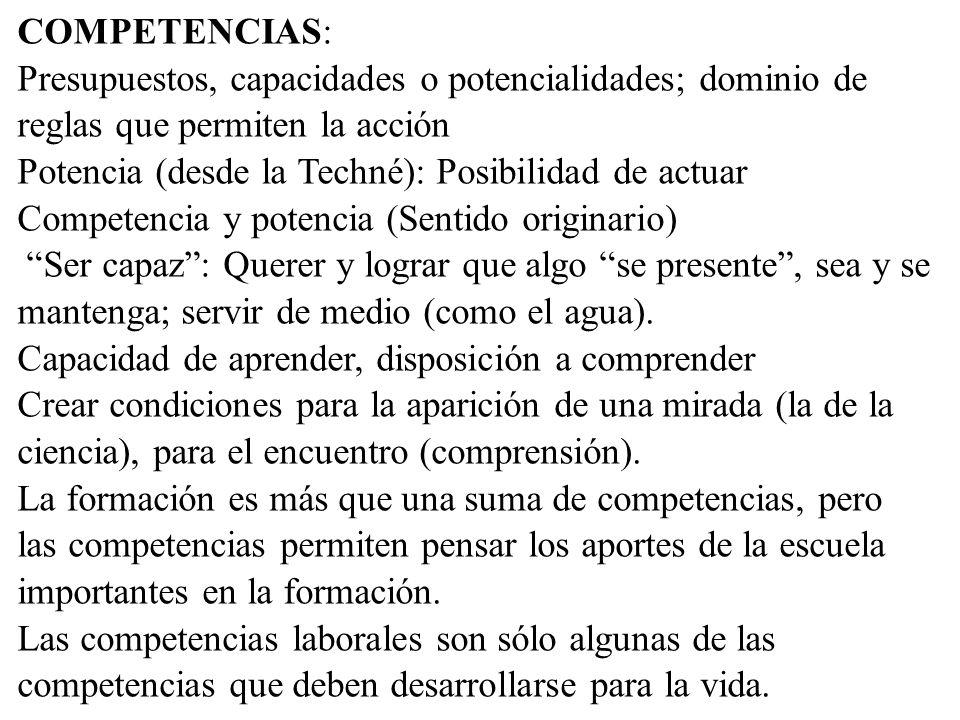 COMPETENCIAS: Presupuestos, capacidades o potencialidades; dominio de reglas que permiten la acción.