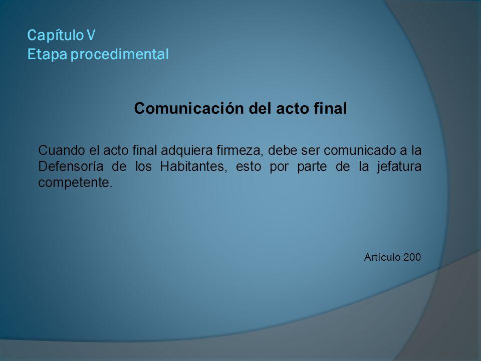 Comunicación del acto final