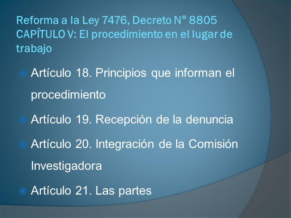 Artículo 18. Principios que informan el procedimiento