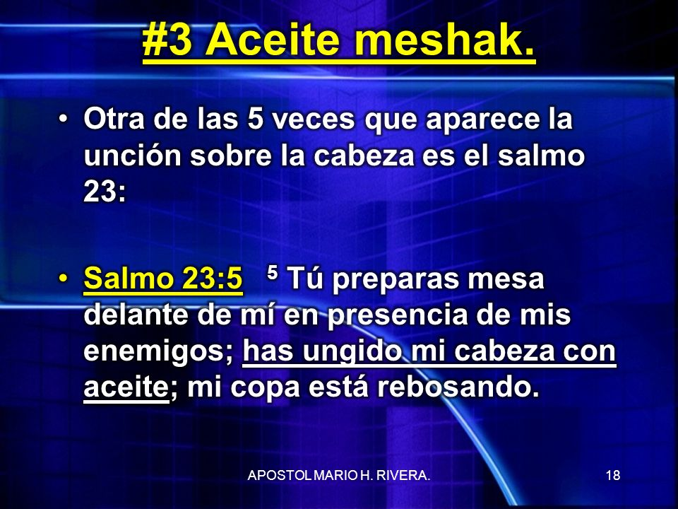 #3 Aceite meshak. Otra de las 5 veces que aparece la unción sobre la cabeza es el salmo 23: