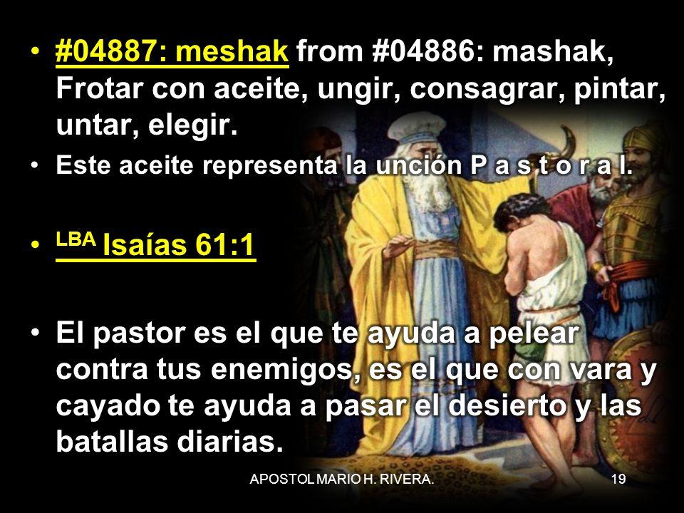 #04887: meshak from #04886: mashak, Frotar con aceite, ungir, consagrar, pintar, untar, elegir.