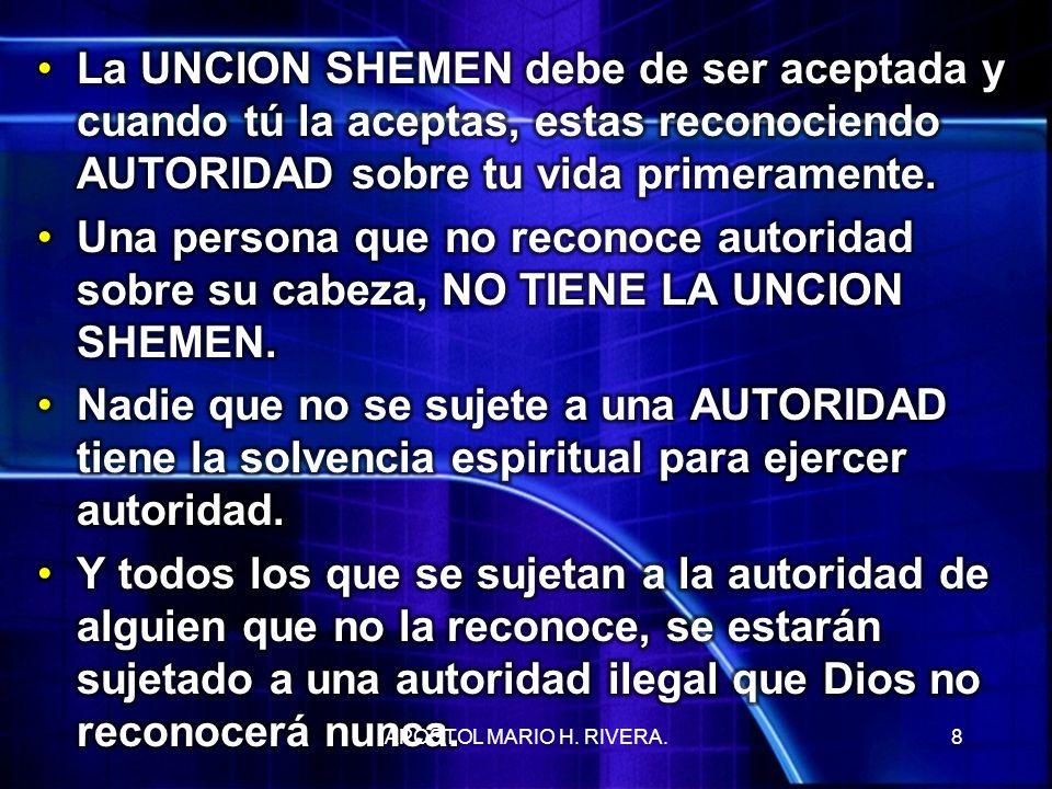 La UNCION SHEMEN debe de ser aceptada y cuando tú la aceptas, estas reconociendo AUTORIDAD sobre tu vida primeramente.