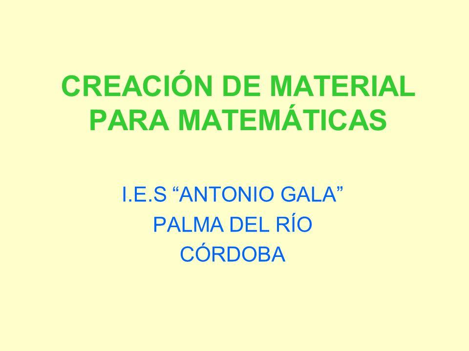 CREACIÓN DE MATERIAL PARA MATEMÁTICAS