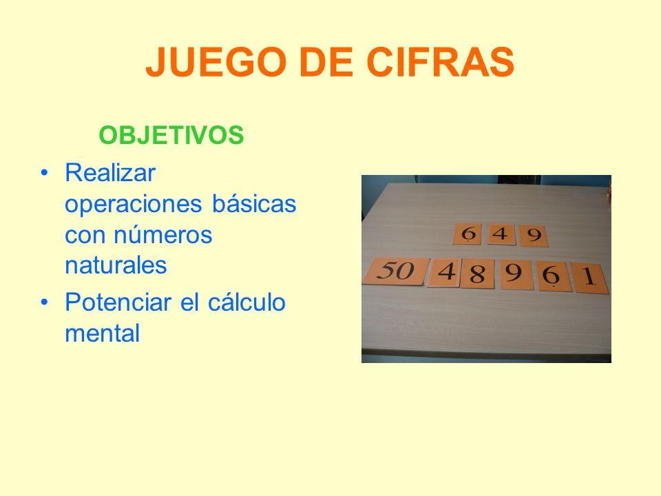 JUEGO DE CIFRAS OBJETIVOS