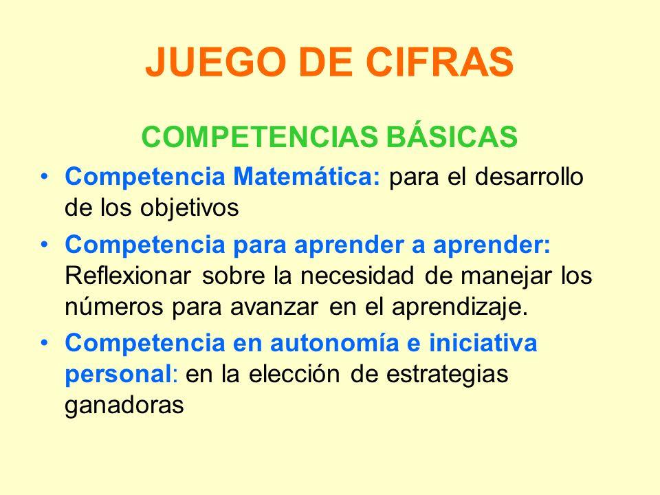 JUEGO DE CIFRAS COMPETENCIAS BÁSICAS
