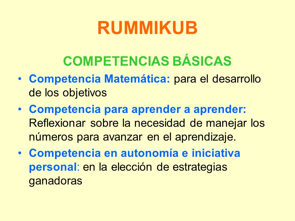 RUMMIKUB COMPETENCIAS BÁSICAS