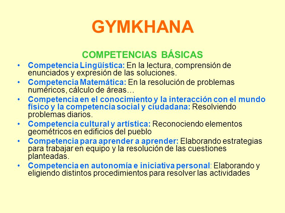 GYMKHANA COMPETENCIAS BÁSICAS