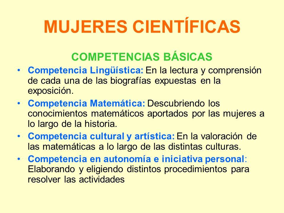 MUJERES CIENTÍFICAS COMPETENCIAS BÁSICAS