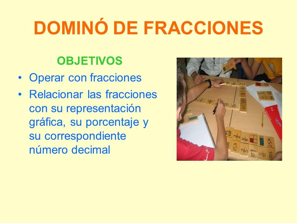 DOMINÓ DE FRACCIONES OBJETIVOS Operar con fracciones