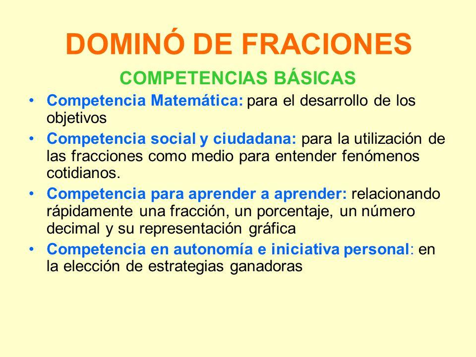 DOMINÓ DE FRACIONES COMPETENCIAS BÁSICAS