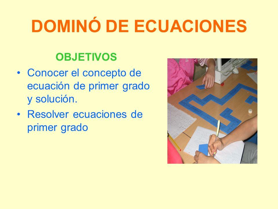 DOMINÓ DE ECUACIONES OBJETIVOS