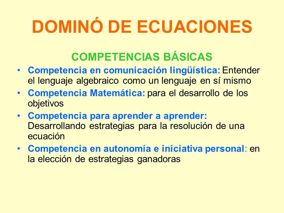 DOMINÓ DE ECUACIONES COMPETENCIAS BÁSICAS