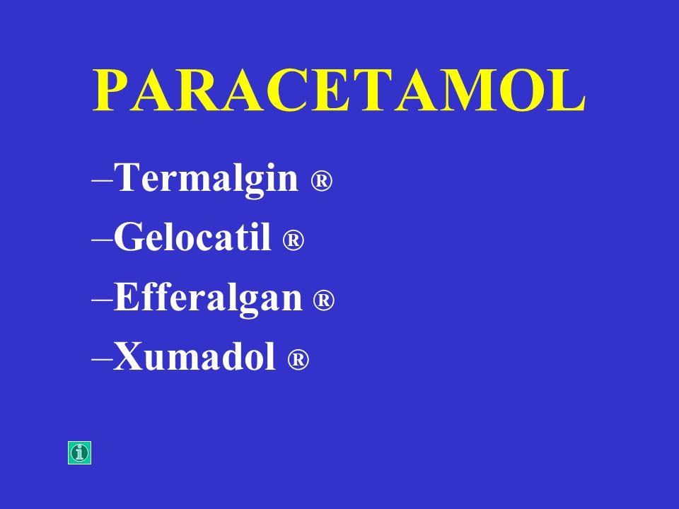 PARACETAMOL Termalgin ® Gelocatil ® Efferalgan ® Xumadol ®