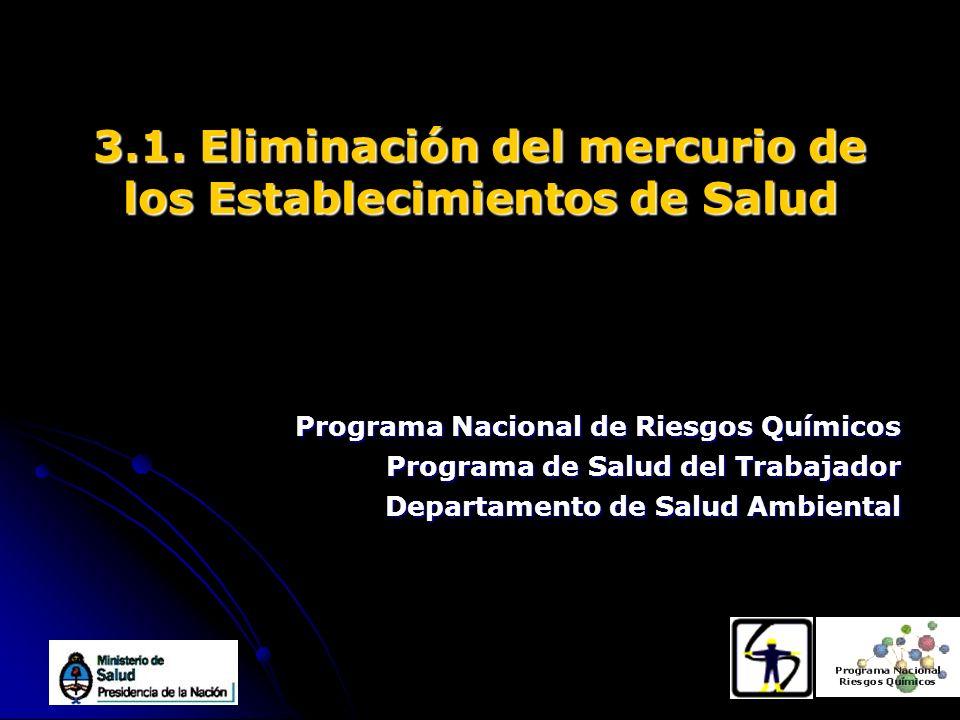 3.1. Eliminación del mercurio de los Establecimientos de Salud