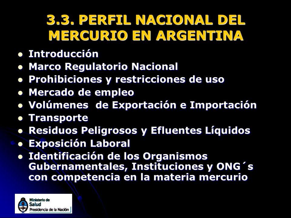 3.3. PERFIL NACIONAL DEL MERCURIO EN ARGENTINA
