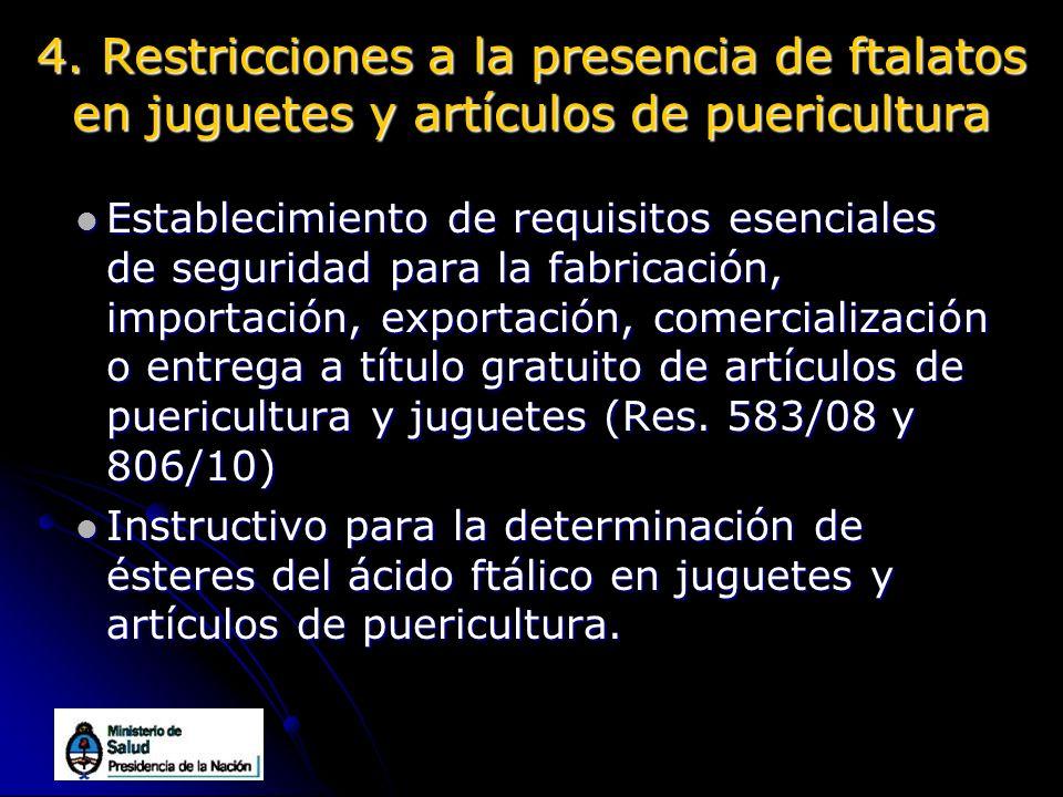 4. Restricciones a la presencia de ftalatos en juguetes y artículos de puericultura