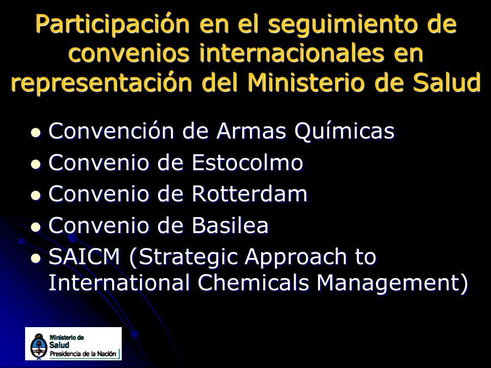 Participación en el seguimiento de convenios internacionales en representación del Ministerio de Salud