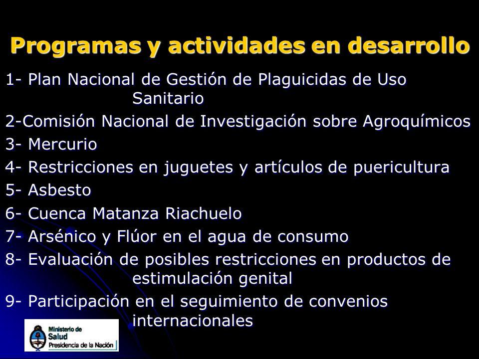 Programas y actividades en desarrollo