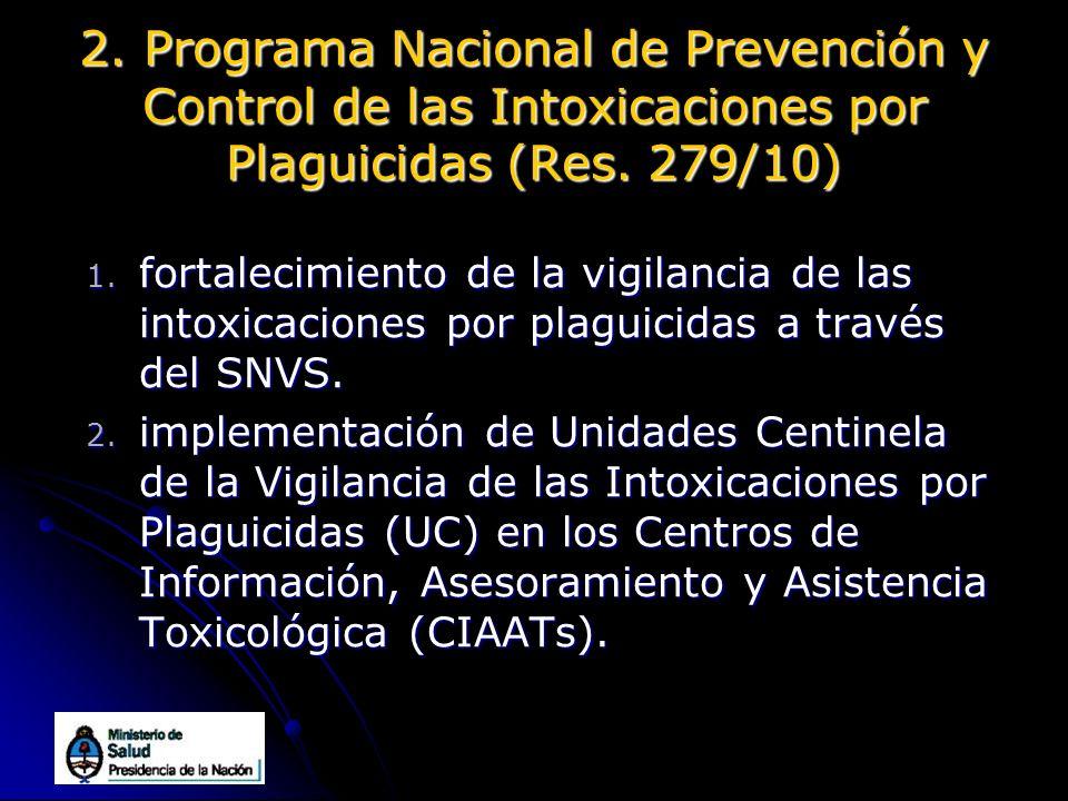 2. Programa Nacional de Prevención y Control de las Intoxicaciones por Plaguicidas (Res. 279/10)