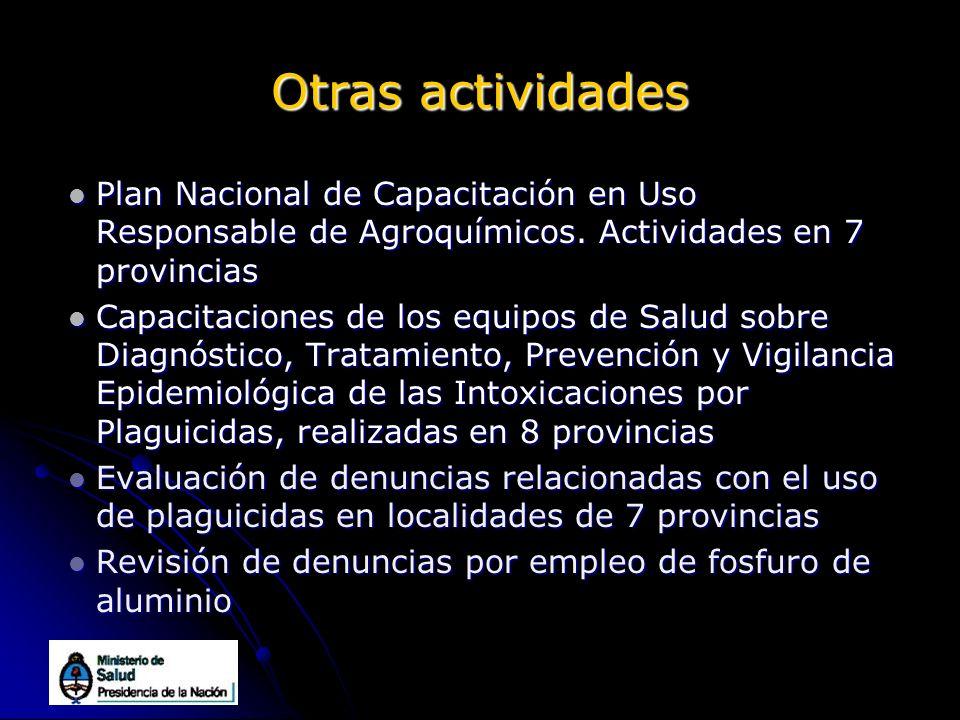 Otras actividades Plan Nacional de Capacitación en Uso Responsable de Agroquímicos. Actividades en 7 provincias.