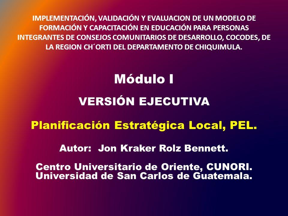 Módulo I VERSIÓN EJECUTIVA Planificación Estratégica Local, PEL.
