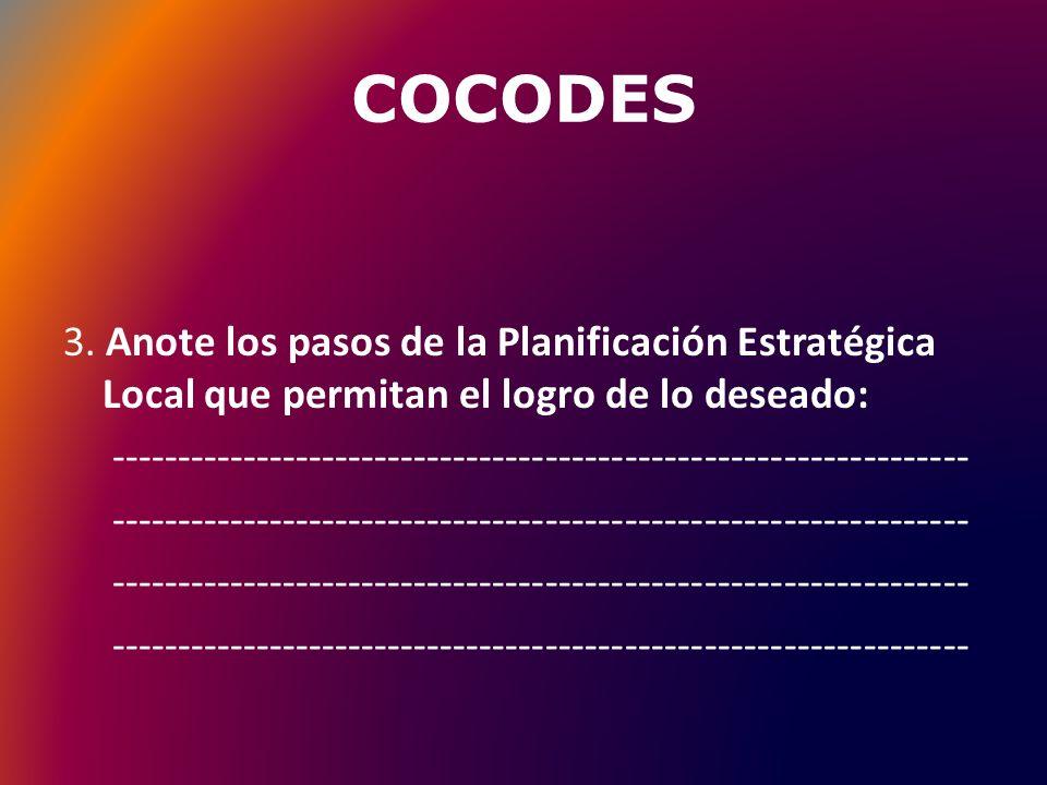COCODES 3. Anote los pasos de la Planificación Estratégica Local que permitan el logro de lo deseado: