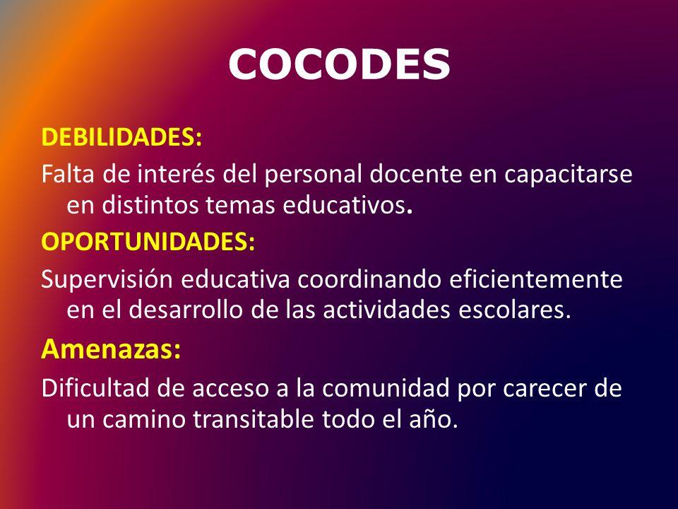 COCODES Amenazas: DEBILIDADES: