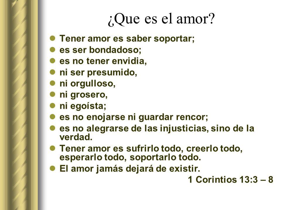 ¿Que es el amor Tener amor es saber soportar; es ser bondadoso;