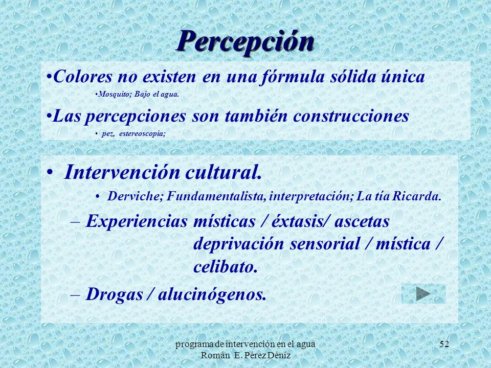 programa de intervención en el agua Román E. Pérez Déniz