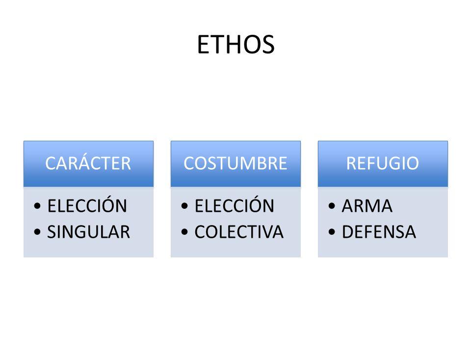 ETHOS CARÁCTER ELECCIÓN SINGULAR COSTUMBRE COLECTIVA REFUGIO ARMA
