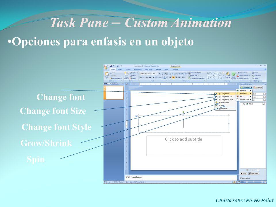 Task Pane – Custom Animation