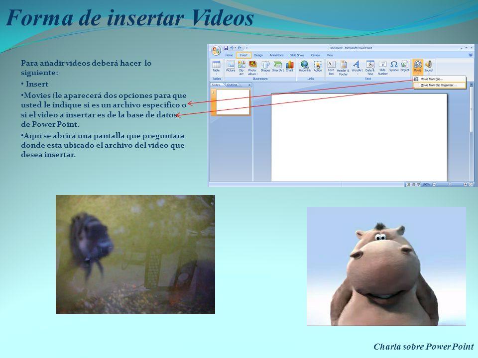 Forma de insertar Videos