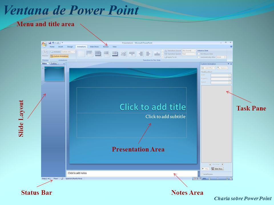 Ventana de Power Point Menu and title area Slide Layout Task Pane