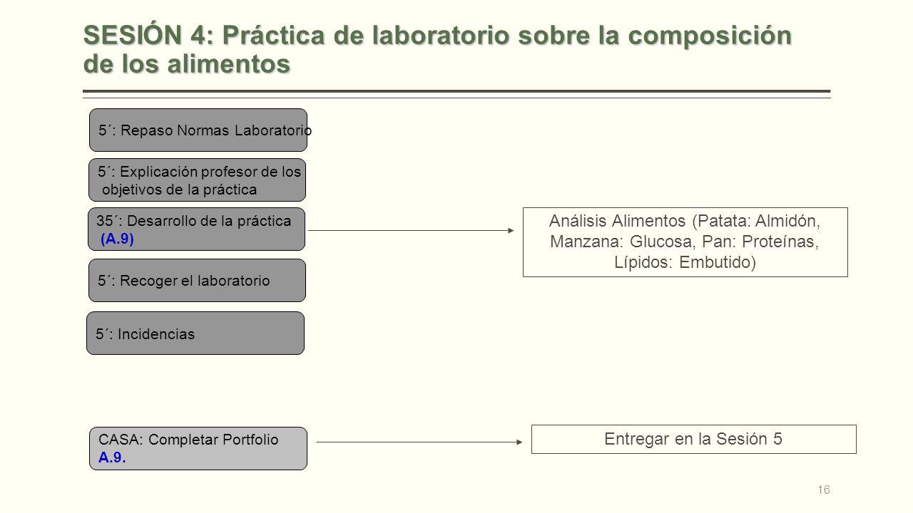 SESIÓN 4: Práctica de laboratorio sobre la composición de los alimentos