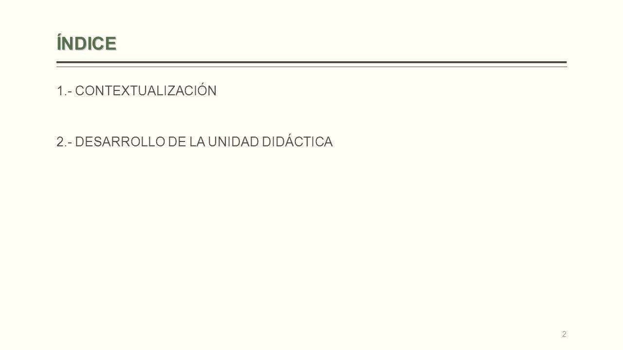 ÍNDICE 1.- CONTEXTUALIZACIÓN 2.- DESARROLLO DE LA UNIDAD DIDÁCTICA