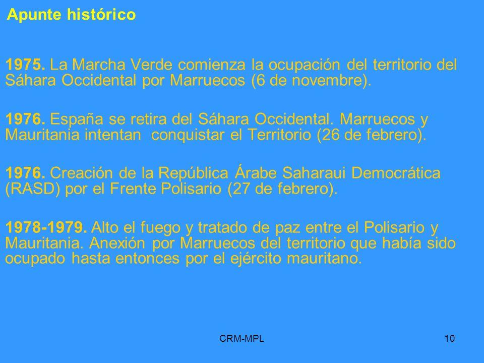 Apunte histórico 1975. La Marcha Verde comienza la ocupación del territorio del Sáhara Occidental por Marruecos (6 de novembre).