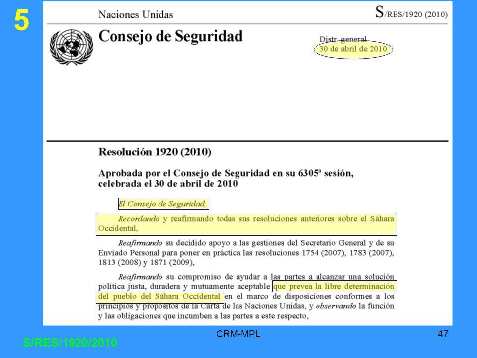 5 CRM-MPL S/RES/1920/2010