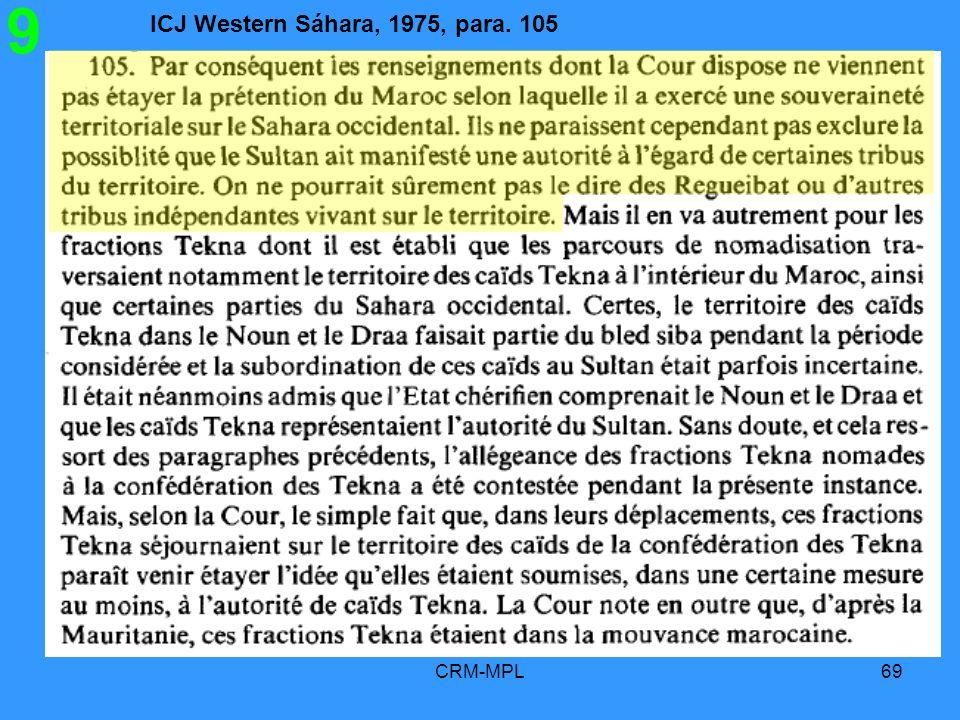 ICJ Western Sáhara, 1975, para. 105