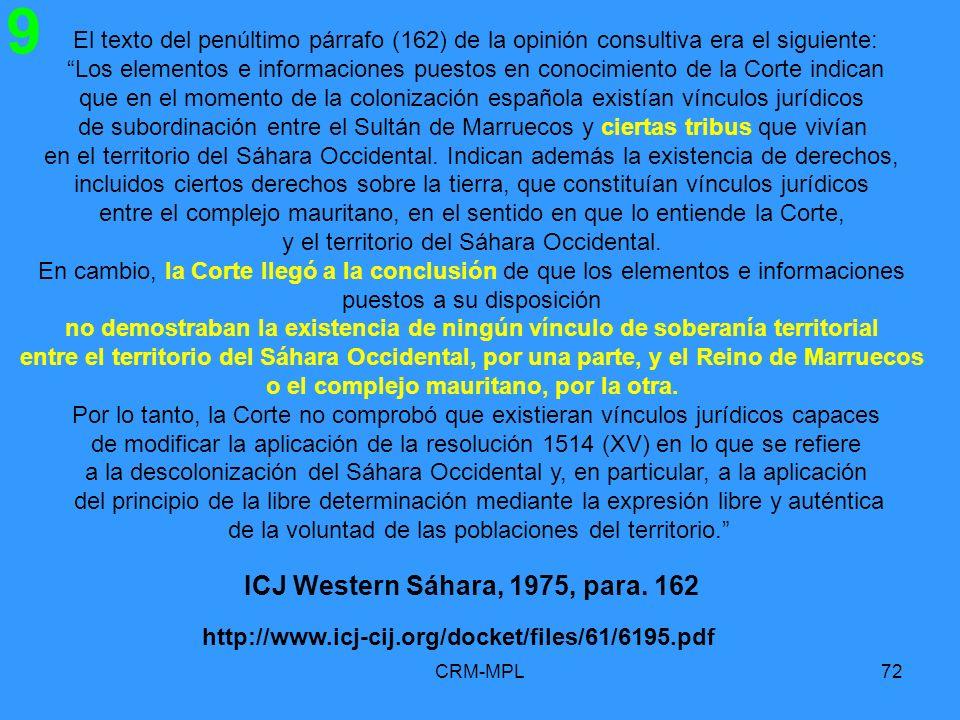 ICJ Western Sáhara, 1975, para. 162