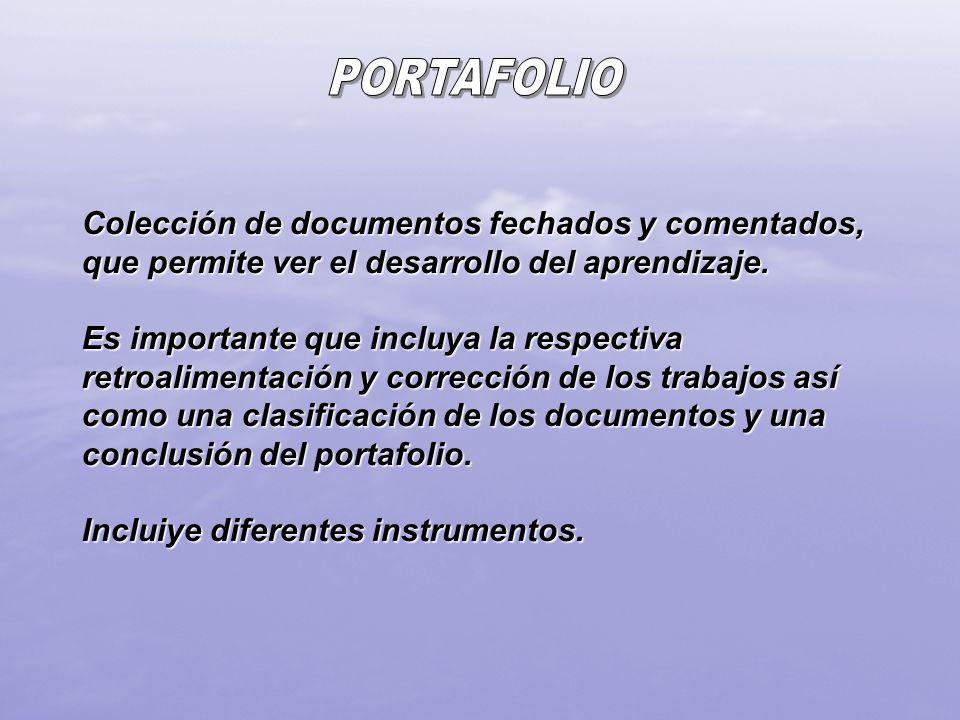 PORTAFOLIO Colección de documentos fechados y comentados, que permite ver el desarrollo del aprendizaje.