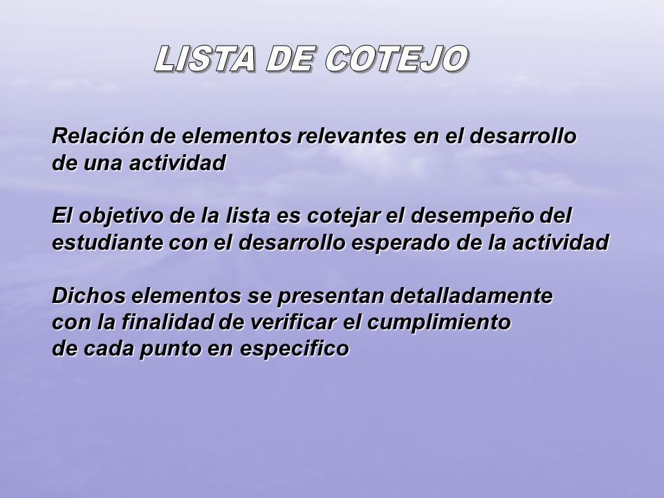 LISTA DE COTEJORelación de elementos relevantes en el desarrollo de una actividad.