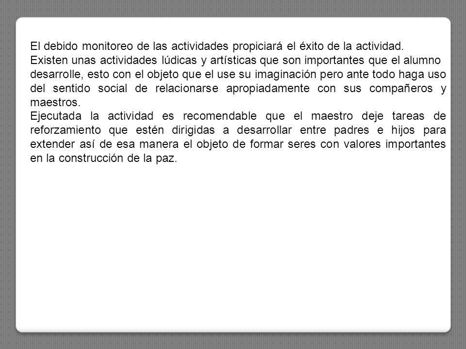El debido monitoreo de las actividades propiciará el éxito de la actividad.
