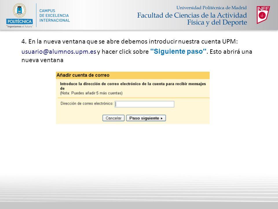 4. En la nueva ventana que se abre debemos introducir nuestra cuenta UPM: