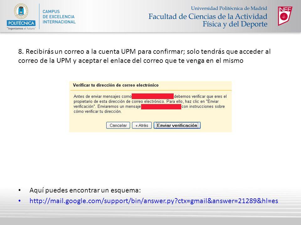 8. Recibirás un correo a la cuenta UPM para confirmar; solo tendrás que acceder al correo de la UPM y aceptar el enlace del correo que te venga en el mismo