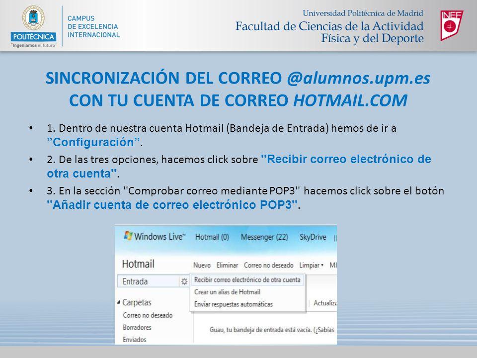 SINCRONIZACIÓN DEL CORREO @alumnos. upm